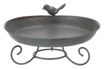 Trixie vogelbad metaal op voet grijs